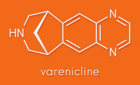 Varenicline smoking cessation drug molecule. Skeletal formula.