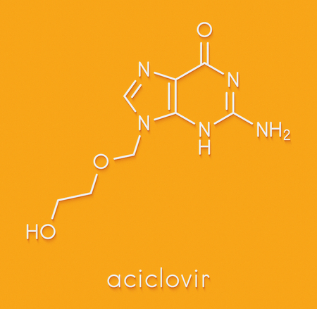 Aciclovir (acyclovir) antiviral drug molecule. Used in treatment of herpes simplex virus (cold sores), herpes zoster (shingles) and varicella zoster (chickenpox). Skeletal formula. Stock Photo