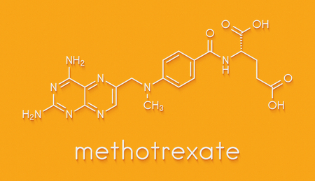 Methotrexate cancer chemotherapy and immunosuppressive drug molecule. Skeletal formula. Stock Photo