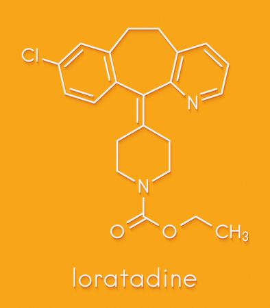 Loratadine antihistamine drug molecule. Used to treat hay fever, urticaria and allergies. Skeletal formula.