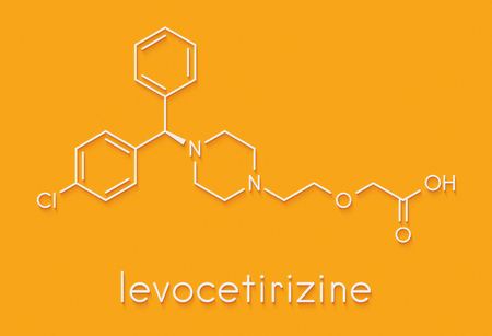 Levocetirizine antihistamine drug molecule. Used to treat hay fever, urticaria and allergies. Skeletal formula. Stock Photo