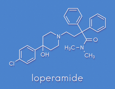 Loperamide diarrhea drug molecule. Skeletal formula. Banque d'images - 91287626