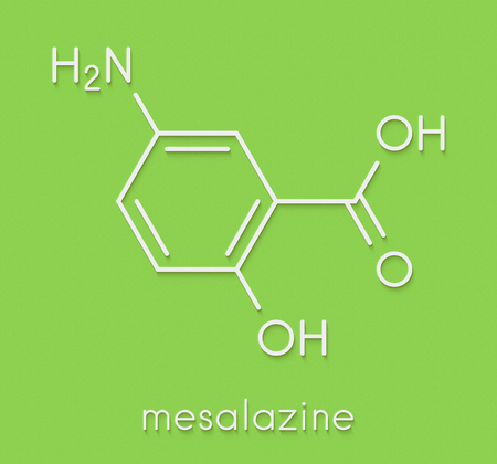 Mesalazine (mesalamine, 5-aminosalicylic acid, 5-ASA) inflammatory bowel disease drug molecule. Used to treat ulcerative colitis and Crohns disease. Skeletal formula. Stock Photo