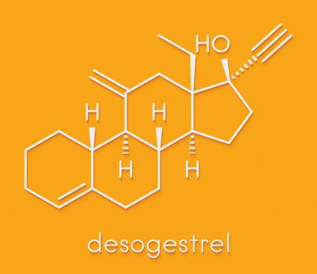 Desogestrel birth control pill drug molecule. Skeletal formula. Stock Photo