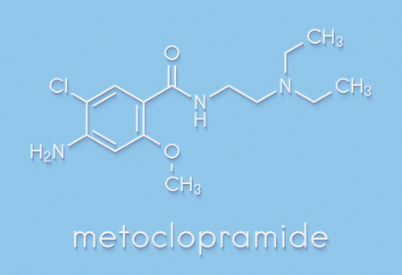 Metoclopramide nausea and vomiting treatment drug molecule. Skeletal formula.