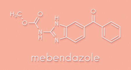 Mebendazole anthelmintic drug molecule. Used to treat worm infestations. Skeletal formula.