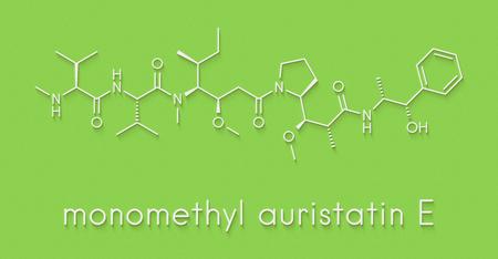 Monomethyl auristatin E (MMAE, vedotin), the cytotoxic payload of brentuximab vedotin antibody-drug conjugate. Skeletal formula. Stock Photo