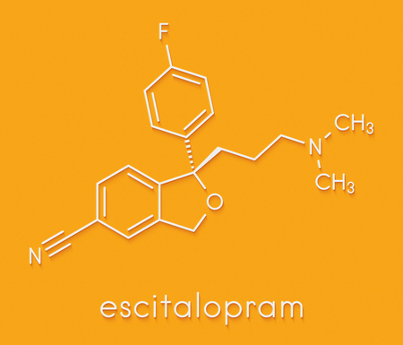 Escitalopram antidepressant drug (SSRI class) molecule. Skeletal formula.