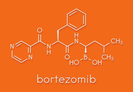 Bortezomib cancer drug (proteasome inhibitor) molecule. Skeletal formula. Stock Photo