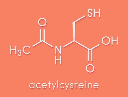 Acetylcysteïne (NAC) mucolytisch geneesmiddelmolecuul. Wordt ook gebruikt voor de behandeling van overdosering met paracetamol, skeletformule.