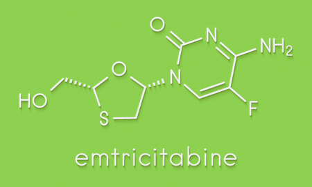 Emtricitabine HIV treatment drug molecule. Skeletal formula.