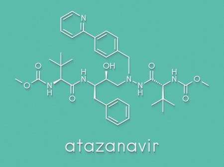 Atazanavir HIV drug (protease inhibitor class) molecule. Skeletal formula.