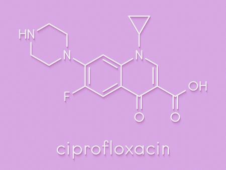 Ciprofloxacin antibiotic drug (fluoroquinolone class) molecule. Skeletal formula.