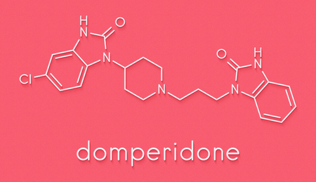 Domperidone nausea and vomiting suppressing drug molecule. Also used to promote lactation. Skeletal formula.