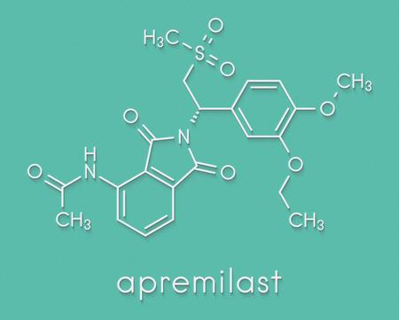 Apremilast investigational psoriasis drug molecule. Skeletal formula.