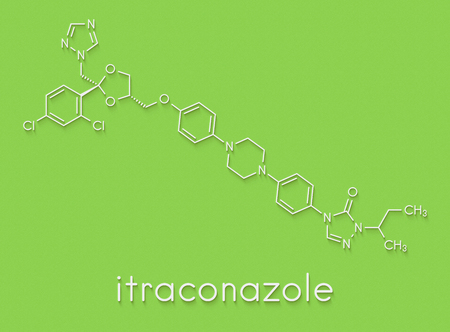 Itraconazole antifungal drug (triazole class) molecule. Skeletal formula. Stock Photo
