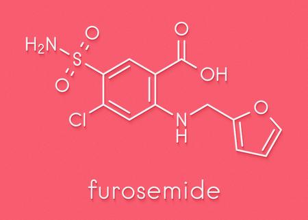 フロセミド利尿薬分子。医学的に高血圧の治療に使用されます。スポーツドーピングのマスキング剤としても使用されます。骨格式。
