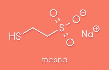 Mesna cancer chemotherapy adjuvant and mucolytic drug molecule. Skeletal formula.