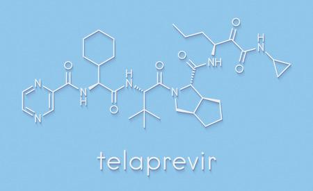 Telaprevir hepatitis C virus drug molecule. Skeletal formula. Banco de Imagens