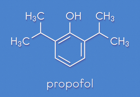 Propofol anesthetic drug molecule. Skeletal formula.