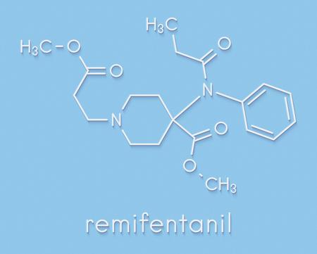 Remifentanil anaesthetic and analgesic drug molecule. Skeletal formula.