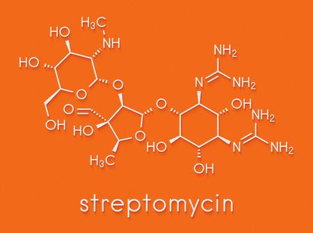 Streptomycin tuberculosis antibiotic (aminoglycoside class) molecule. Skeletal formula. Stock Photo
