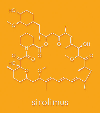 Sirolimus (rapamycin) immunosuppressive drug molecule. Used to prevent transplant rejection and in coronary stent coating. Skeletal formula.