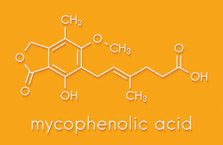 Mycophenolate (mycophenolic acid) immunosuppressive drug molecule. Used to prevent transplant rejection and in treatment of autoimmune disease. Skeletal formula.