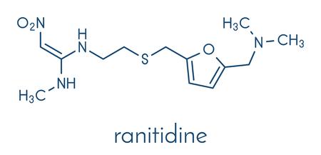 Ranitidine peptic ulcer disease drug molecule. Blocks stomach acid production. Skeletal formula. Stock Vector - 91297494