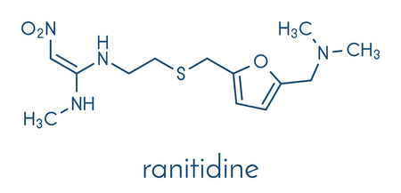 Ranitidine peptic ulcer disease drug molecule. Blocks stomach acid production. Skeletal formula. Illustration