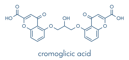 Cromoglicic acid (cromolyn, cromoglycate) asthma and allergy drug molecule. Skeletal formula.  イラスト・ベクター素材