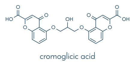 Cromoglicic acid (cromolyn, cromoglycate) asthma and allergy drug molecule. Skeletal formula. 일러스트