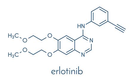 Erlotinib cancer drug molecule. Skeletal formula. Иллюстрация