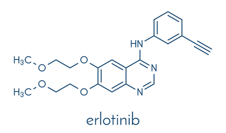 Erlotinib cancer drug molecule. Skeletal formula. Illustration