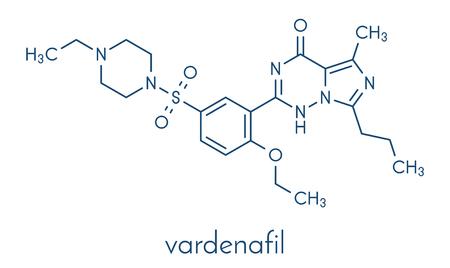 ヴァルデナフィル勃起不全薬物分子.骨格式。  イラスト・ベクター素材
