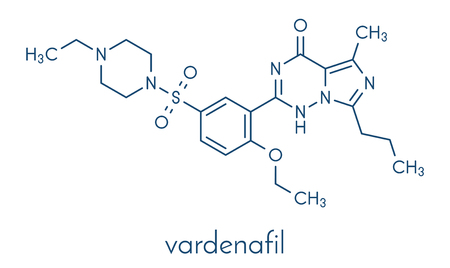 Vardenafil erectile dysfunction drug molecule. Skeletal formula.
