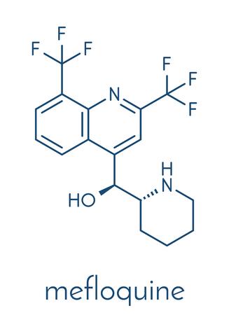 Mefloquine malaria drug molecule. Skeletal formula.