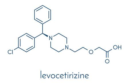 Levocetirizine antihistamine drug molecule. Used to treat hay fever, urticaria and allergies. Skeletal formula. Illustration