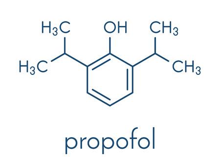 Propofol anesthetic drug molecule. Skeletal formula. Stock Vector - 91297511