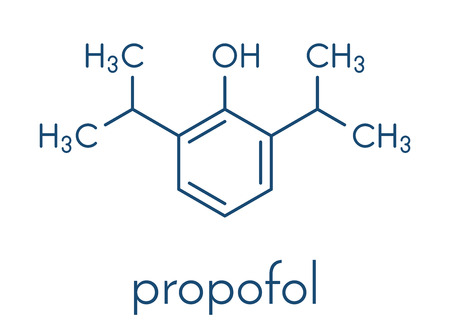 Propofol anesthetic drug molecule. Skeletal formula.