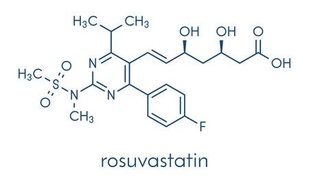 Rosuvastatin cholesterol lowering drug (statin class) molecule. Skeletal formula.