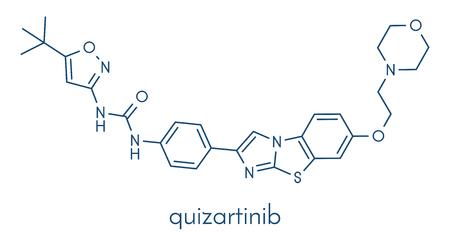 Quizartinib investigational acute myeloid leukemia (AML) drug, chemical structure Skeletal formula.