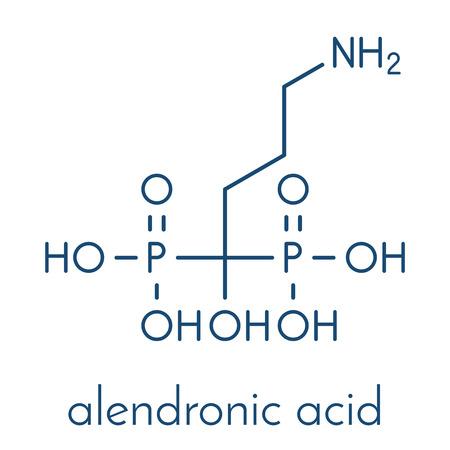 Alendronic acid (alendronate, bisphosphonate class) osteoporosis drug molecule. Skeletal formula. Illustration