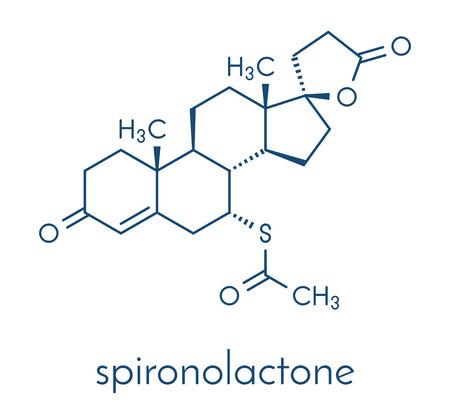 Spironolactone 이뇨제, 항 고혈압제 및 항 안드로겐 성 약물 분자 골격 공식.