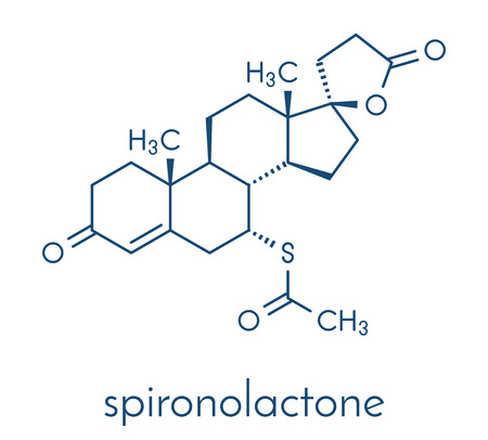 Spironolactone diuretic, antihypertensive and antiandrogen drug molecule. Skeletal formula. Illustration
