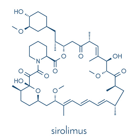 Sirolimus (rapamycin) immunosuppressive drug molecule. Used to prevent transplant rejection and in coronary stent coating. Skeletal formula.