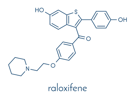 Raloxifene osteoporosis drug molecule. Used in treatment and prevention of osteoporosis in postmenopausal women. Also used to reduce risk of breast cancer in postmenopausal women. Skeletal formula.