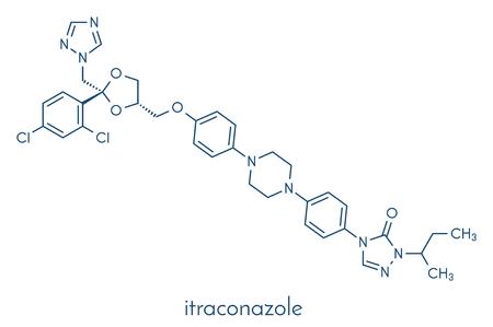 Itraconazole antifungal drug (triazole class) molecule. Skeletal formula. Vector Illustration