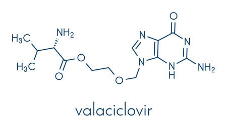 Valaciclovir (valacyclovir) herpes infection drug molecule. Skeletal formula. Ilustrace