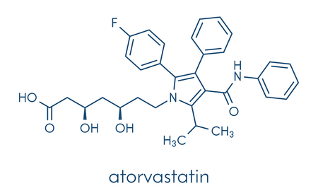 Atorvastatin cholesterol lowering drug (statin class) molecule. Skeletal formula. Çizim